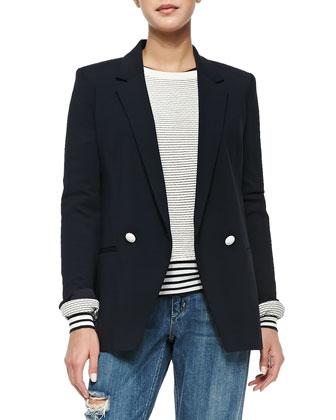 Elkaey Contrast-Button Crepe Blazer, Tamrist Striped Puckered Top, Mirzi ...