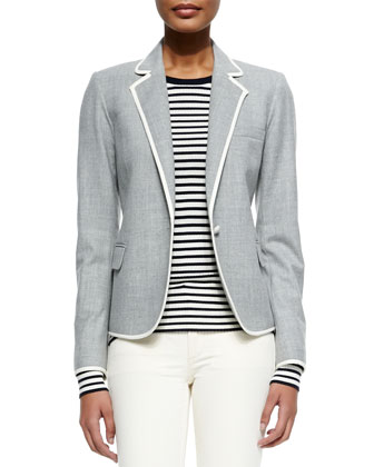 Felisity Contrast-Trim Suiting Blazer, Mirzi Striped Knit Wool Top & Billy ...