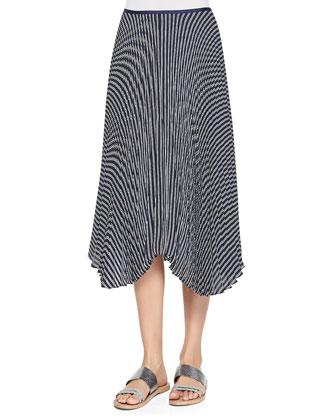 Bonda Contrast-Trim Silk Top & Zeyn Striped Pleated Silk Skirt