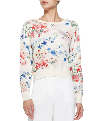 Delpy Cropped Floral-Print Sweater & Univa Wide-Leg Twill Pants
