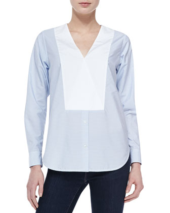 Suejia C. Fine-Stripe Top W/ Bib Accent