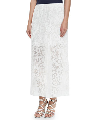 Delva Pleated Burnout Maxi Skirt