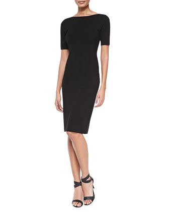 Narlissa Prosecco Half-Sleeve Dress W/ Cutout Back