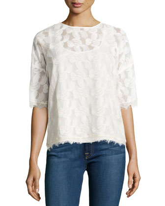 Short-Sleeve Boxy Mesh-Overlay Top, Cream