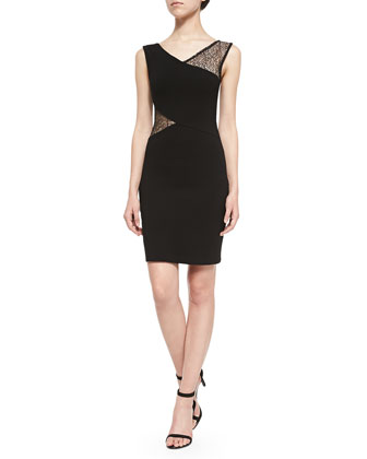 Winona Sleeveless Dress W/ Lace Accents
