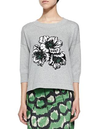 3/4-Sleeve Sweatshirt W/ Floral Appliqu??