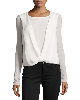 Long-Sleeve Draped Jersey-Back Top