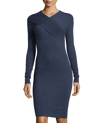 Long-Sleeve Twist-Front Dress, Indigo