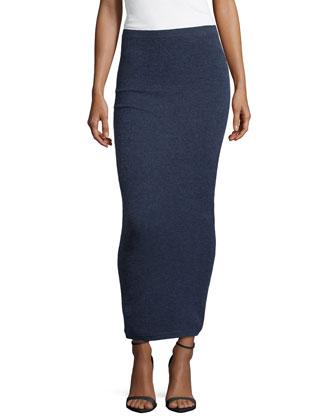Long Cashmere Tube Skirt, Indigo