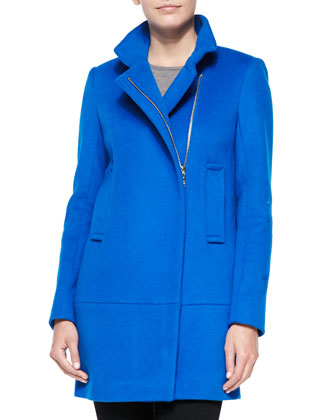 Asymmetric Zip-Front Walker Coat