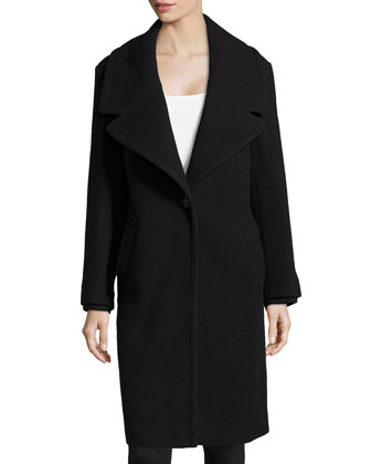 Oversized-Collar Wool Coat, Black