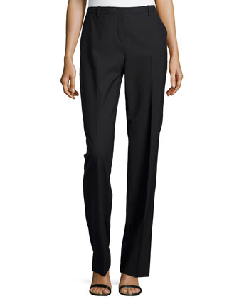Straight-Leg Suiting Pants, Black