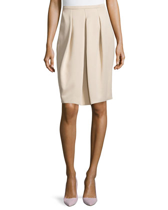 Front Pleated Full Skirt, Champagne