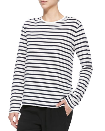 Long-Sleeve Tee w/ Stripes