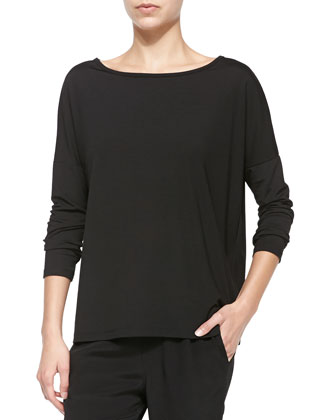 Long-Sleeve Tee with Boat Neck, Black