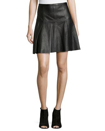 Flared Naked Leather Skirt, Black