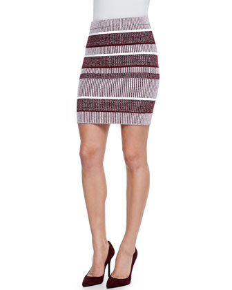 Short-Sleeve Striped Ribbed Top & Striped Ribbed Pencil Skirt