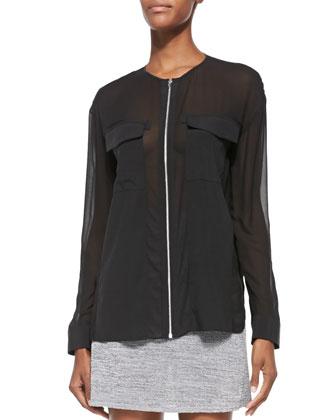 Long-Sleeve Combo Shirt W/ Zip Front