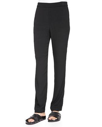 Slim-Leg Crepe Track Pants