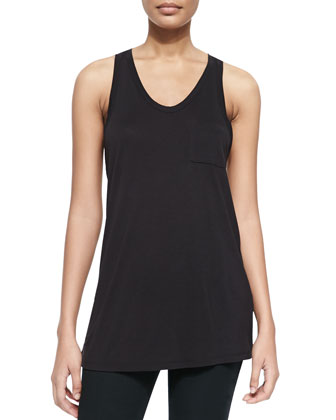 Long Sleeveless Racerback Pocket Tee