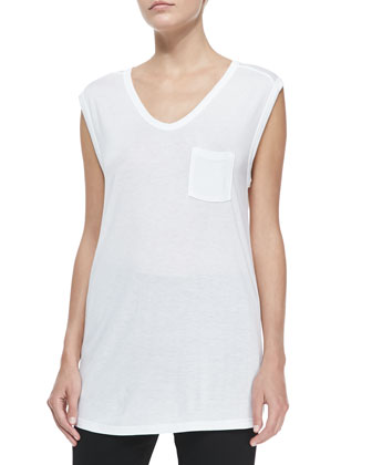 Long Muscle Tee with Pocket, White