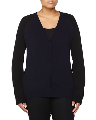 Colorblock Wool-Cashmere Cardigan, Navy/Black