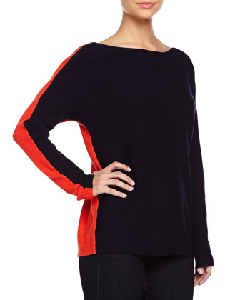 Dolman-Sleeve Colorblock Sweater, Fire/Navy