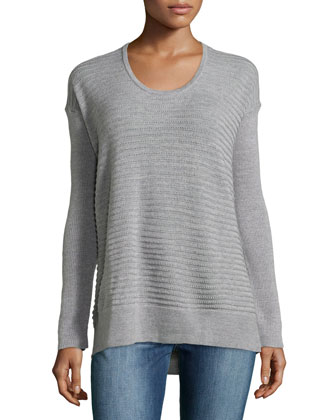 Rib-Knit Wool Pullover Sweater, Heather Gray