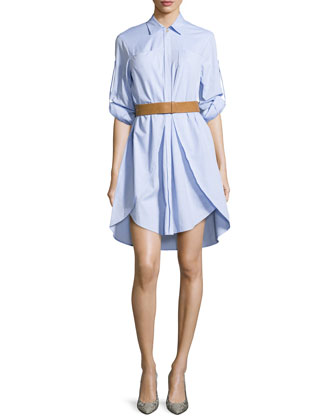 Long-Sleeve Overlay Belted Shirtdress, Chambray