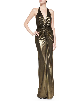 Deep V-Neck Twist-Front Halter Gown