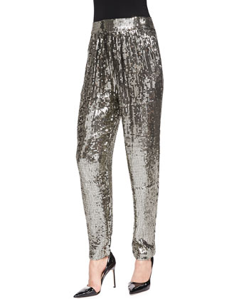 Sequined Trousers W/ Gathered Waist