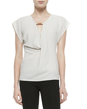 Short-Sleeve Draped Top W/ Hardware