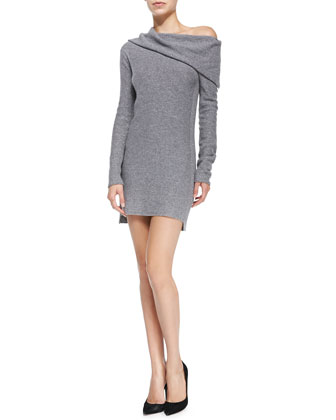 Cashmere Off-the-Shoulder Sweaterdress