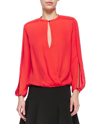 Draped Slit-Sleeve Top, Lipstick
