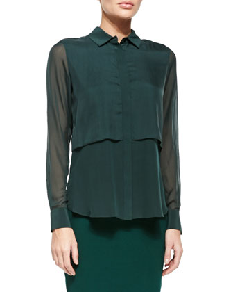 Double-Layer Blouse W/ Long Sleeves