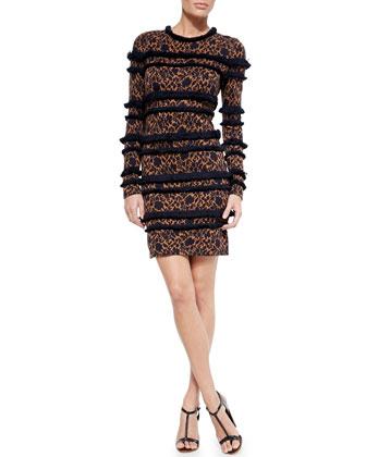 Floral Fringe Silhouette Dress