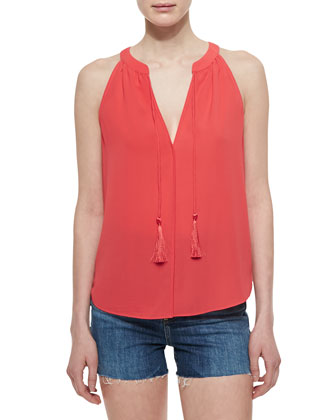 Layla Split-Neck Tassel Top