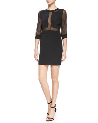 Tina 3/4-Sleeve Sheer-Top Dress
