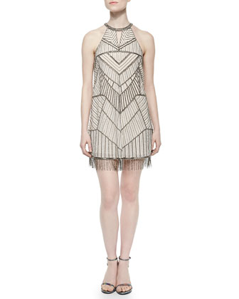 Sanza Sleeveless Beaded Cocktail Dress