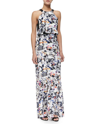 Maui Abstract-Print Combo Maxi Dress