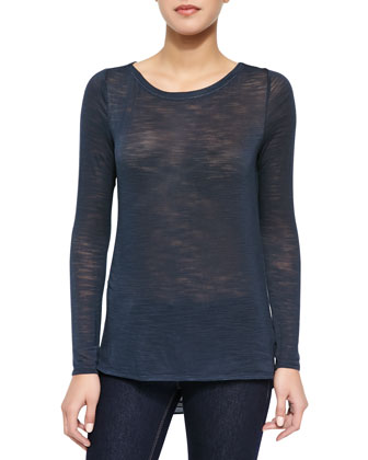 Long-Sleeve Keyhole-Draped-Back Top