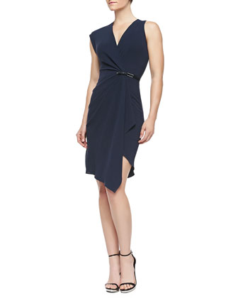 Deep V Dress w Drape&Buckle