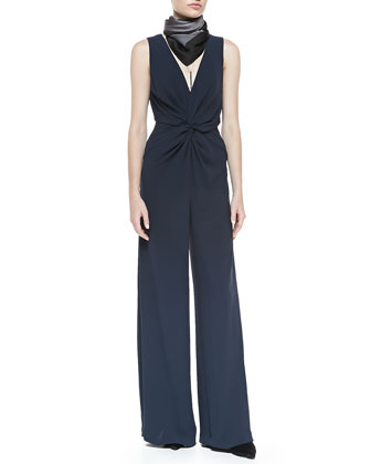 Sleeveless Deep-V Jumpsuit W/ Twist