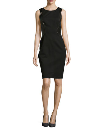 Sleeveless Leather-Panel Knit Dress, Black