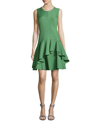 Sleeveless Ponte Ruffle Dress, Loden