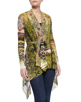 Belted Lace-Print Cardigan