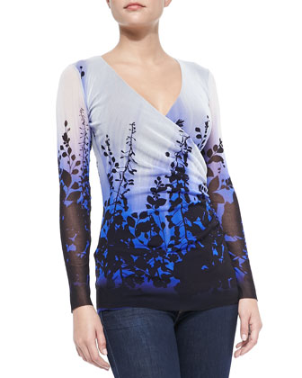 Garden-Print Faux-Wrap Tee, Blue