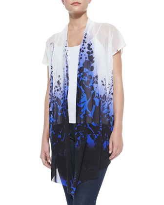 Garden Printed Draped Cardigan, Blue