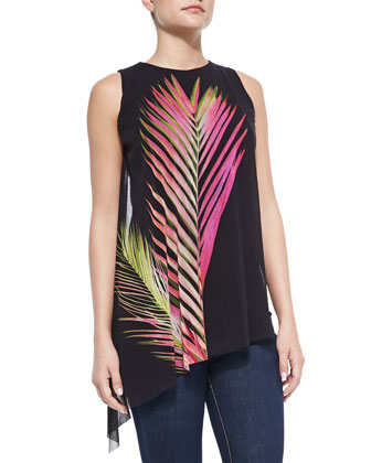 Sleeveless Draped Leaf-Print Top