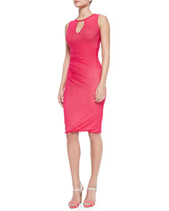 Sleeveless Ruched-Side Dress W/ Keyhole